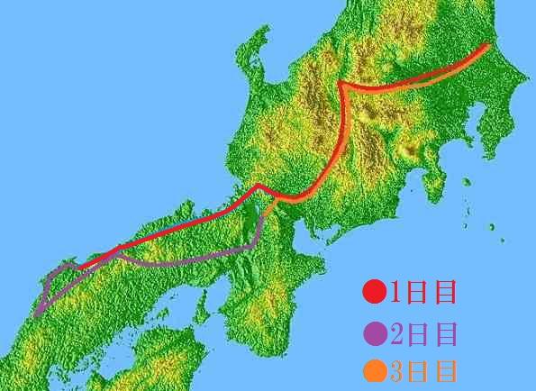 山陰旅行経路地図